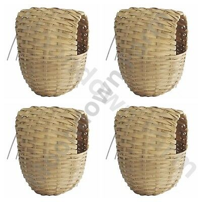 4 x Finch Nest Box Large Wicker with Hooks For Cage Hanging 15x11x11 Finches