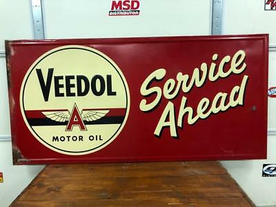 Vintage 1950's  Veedol Flying A Service Ahead Original Metal Gas Station Sign