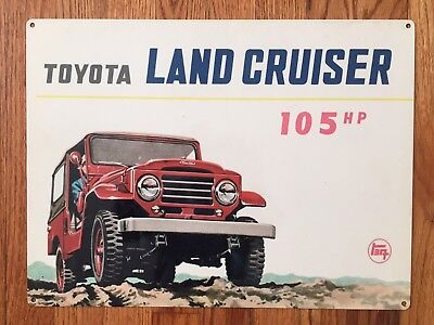 Toyota Land Cruiser Jeep 4WD BJ FJ J40 50 60  105HP Vintage Poster Ad Metal Sign