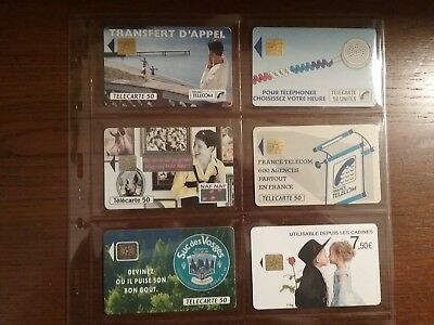 6 Used Phone Cards from France