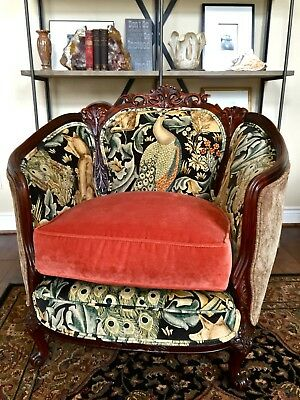 Antique Louis XV Barrel Chair New Upholstery ~ William Morris of London Fabric
