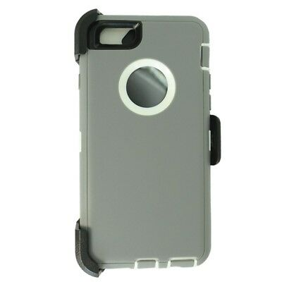 For iPhone 6 Plus / 6S Plus Defender Case w/Belt Clip fits Otterbox Gray White
