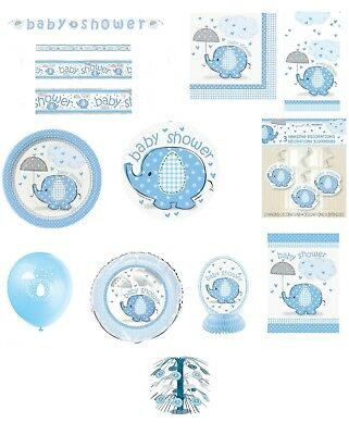 Blue Umbrellaphants Baby Shower Party Supplies Tableware Decorations Boy