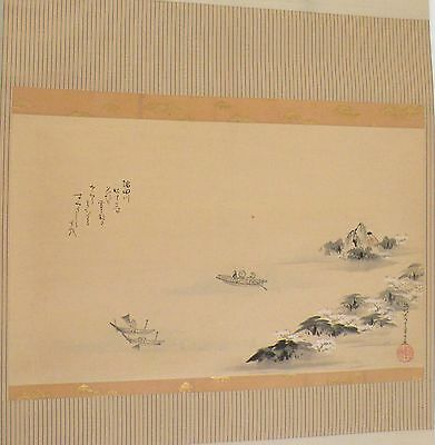 Antique Japanese Hanging Scroll painting large, Silk, Asian lake fisherman scene