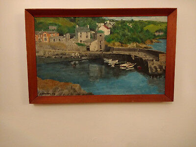 Lovely Cornish School Landscape Of Small Cove Signed E.ollerton Dated 69