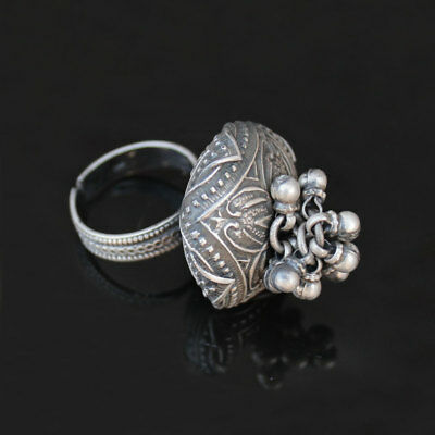 Gorgeous Antique Ethnic Tribal old Silver Vintage Statement Adjustable Ring