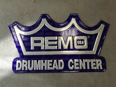 Remo metal sign. Remo USA Drumhead Center