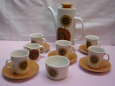 J & G. MEAKIN SUNFLOWERS COFFEE SET RETRO 60's 70's