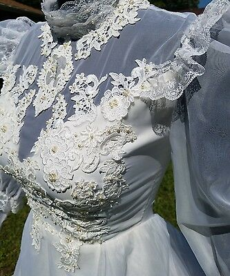 Victorian Lace And Pearl Vintage Sheer  Ruffle Train Traditional Wedding Dress S