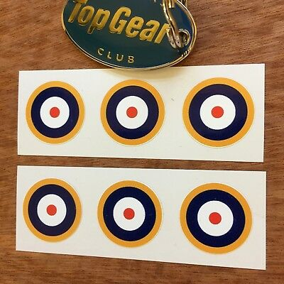 RAF ROUNDELS Scooter WW2 Aeroplane Model Car Van Stickers Decals 6 off 25mm