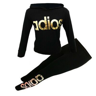 NEW Girls Adios Gold Foil Print Tracksuit Outfit Black Age 6 7 8 9 10 11 12 13
