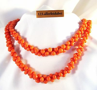 Korallen Kette Collier Korallenkette 585 Gold old coral necklace / YY 1024