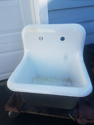Vintage Style Deep Utility Sink Antique High Back Cast Iron