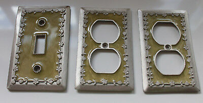 3 Vintage Solid Heavy Ornate Switch / Outlet Plate Cover Green  Floral Design