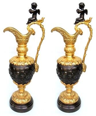 SUPERB Fine Pair French Bronze Ormolu Ewers Manner of Claude Michel Clodion 19Ct