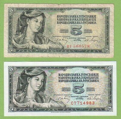 Yugoslavia - Lot - 2 banknotes - 1968 - VG-/aUNC Paper Money Banknote Currency
