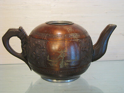 Antique Chinese Teapot Wood Over Pewter