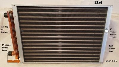 """Water to Air Heat Exchanger 12 x 6~~1"""" Copper ports"""