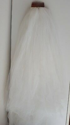 """white wedding veil net 33"""" length attached to brown plastic hair comb"""