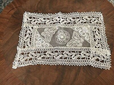 ANTIQUE FRENCH NORMANDY NET LACE PILLOW TOP VICTORIAN 15 x 10 IN OFF WHITE