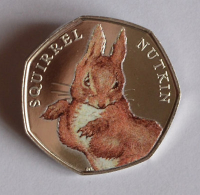 COLOURED SQUIRREL NUTKIN 50p PENCE BEATRIX POTTER COLLECTION UNCIRCULATED COIN