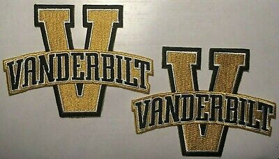 """Vanderbilt patches University  VU COMMODORES embroidered iron-on 4"""" (2 pc. lot)"""