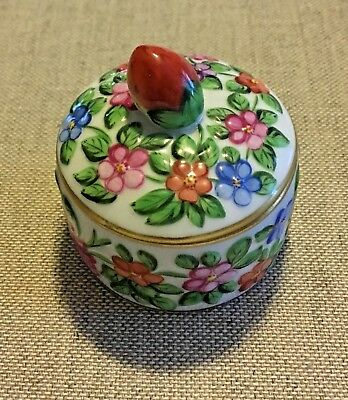 Herend Hungary Miniature Round Floral Trinket Box with Strawberry Finial    6203