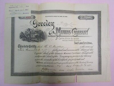 1890s GREELEY MINING COMPANY STOCK CERTIFICATE #619  500 SHARES  *See Details