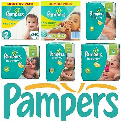 Pampers BABY DRY and PREMIUM Nappies MONTHLY SAVING Pack ****OLD STOCK****