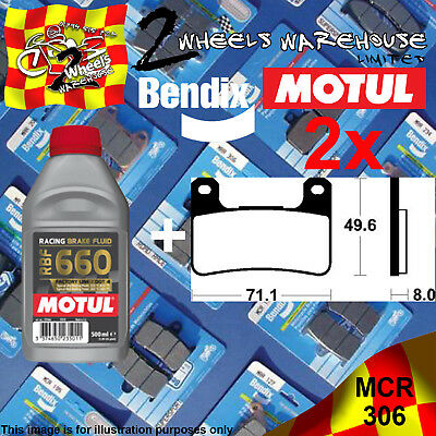 2x BENDIX 306-MCR & RBF660 BRAKE FLUID CARBON PADS KIT FITS MOTORCYCLES LISTED