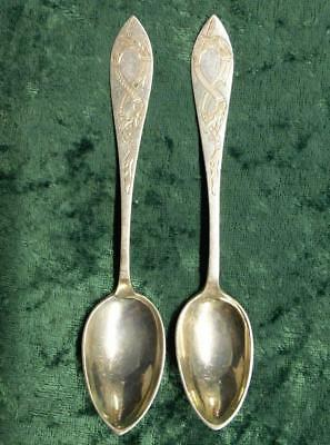 2 830 Silver Olsen Dragon Style Spoons, 2 Engraved 830s Silver Spoons