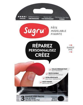 Sugru Mouldable Glue Pack Of 3 Noir Pate Modelable Fixante Reparer Pro Bricolage
