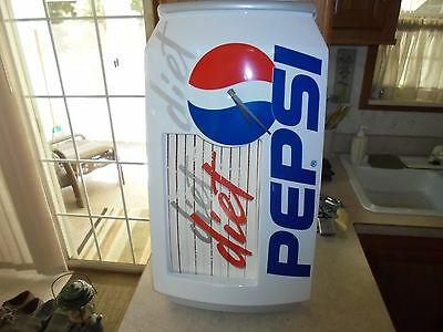 pepsi and diet pepsi light up battery operated wall clock can shape never used