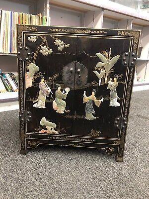 Antique Chinese Old Black Lacquer Cabinet Applied Carved Jade Ivory