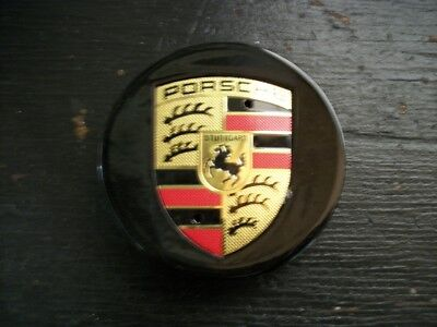 Porsche Wheel Center Caps, 4 New. BLACK WITH GOLD EMBLEM 77MM