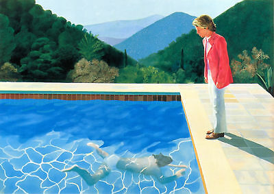 David Hockney Pool - 34X24 Inch Large Framed Hd Canvas - Rare Art Work