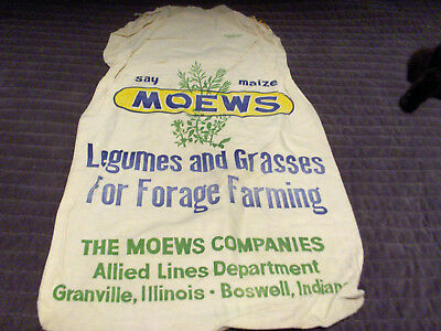 VINTAGE Cotton Seed Feed Bag Moews Maize Legumes Grasses Granville IL Boswell IN