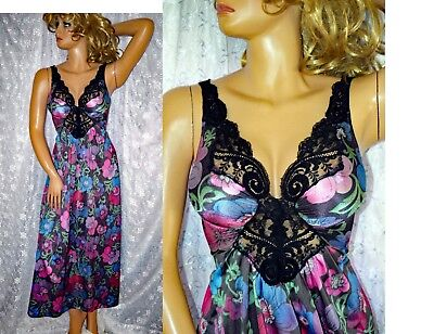 VTG RARE Olga BOHO Psychedelic SPANDEX TOP Nylon Lace Negligee Nightgown Medium