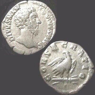 MARCUS AURELIUS. Commem. DENARIUS. CONSECRATIO. Eagle on thunderbolt.