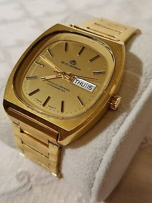 Beautiful Vintage Bucherer Swiss Made Automatic Chronometer Day Date Works Great