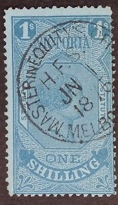 Rare 1870- Victoria Australia 1/- Blue Stamp Statute Used Masters Equity' Office