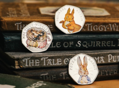 COLOURED 3x50p PETER RABBIT BEATRIX POTTER COLLECTION THREE Fifty Pence COINS