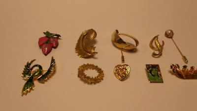 LOT OF 10 VINTAGE beautiful BROOCH PINS One SIGNED Sarah Coventry