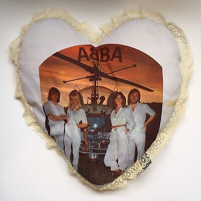 Vintage ABBA heart shaped cushion pillow Arrival Reg Grundy Productions 1976