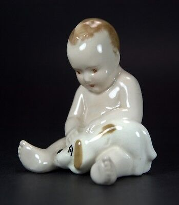 Hand-Painted Porcelain Figurine of Infant Child with Puppy, Made in England