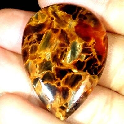 39.45 CTs 100% NATURAL GOLDEN PIETERSITE PEAR CABOCHON ~27X38X4 MM~ GEMSTONE