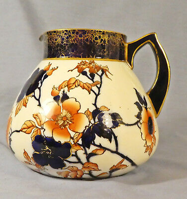 Doulton Burslem Jug In Orange And Blue Floral With Gold Trim, Circa 1886