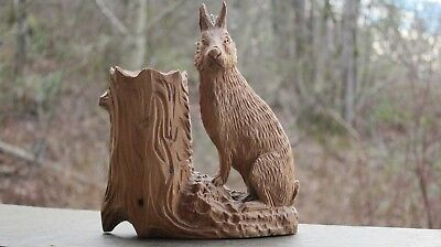 Vintage Hand Carved Wood Hare 1894 Por Or.  Very Rare Antique One Of A Kind