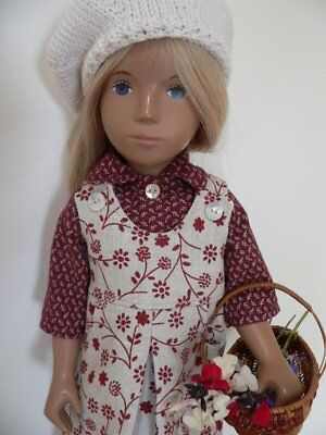 SASHA DOLL OUTFIT Linen pinafore dress-shirt-beret THE FLOWER GATHERER- Spring