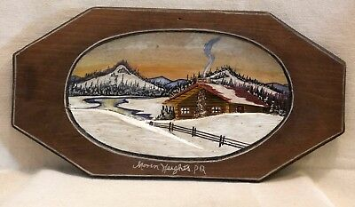 Rare 1930's Painted Relief Carving Of A Winter Scene By H.g.baldwin Montreal Que